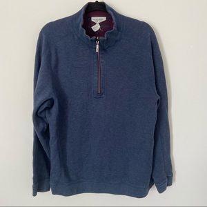 Men's Tommy Bahama Reversible 1/2 Sweater Top Blue Burgundy L